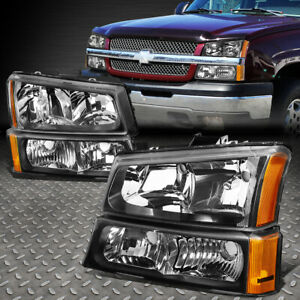 For 2003 2006 Chevy Silverado Black Housing Amber Side Headlight Lamp Set 4pcs