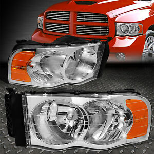 For 02 05 Dodge Ram 1500 2500 3500 Chrome Housing Amber Corner Headlight Lamps