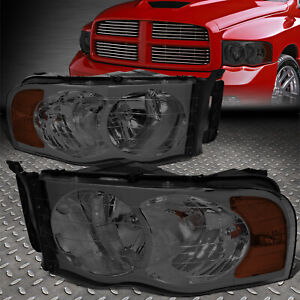 For 02 05 Dodge Ram 1500 2500 3500 Smoked Lens Amber Corner Headlight Lamps