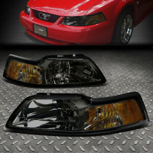 For 99 04 Ford Mustang Smoked Housing Amber Corner Headlight Replacement Lamps