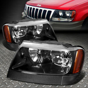For 1999 2004 Jeep Grand Cherokee Black Housing Amber Corner Headlight Lamp Set