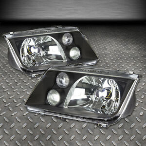 For 1999 2005 Vw Jetta Mk4 Pair Black Housing Clear Lens Headlight W Fog Lamp