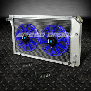 3 Row Aluminum Racing Radiator 2x 12 Blue Fan 77 82 Chevy Corvette V8 5 7l 5 0l