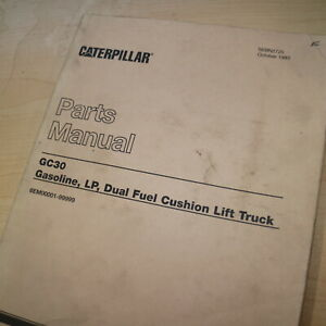 Caterpillar Gc30 Forklift Parts Manual Book Catalog Spare List Shop Towmotor Oem