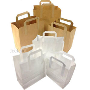 White Brown Kraft Paper Sos Food Carrier Bags With Handle Party Takeaway Etc