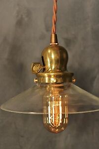 Vintage Industrial Pendant Light With Clear Glass Shade Made In The Usa