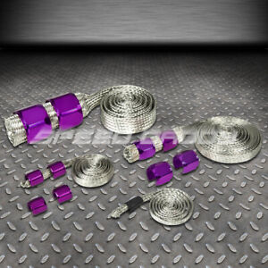 Braided Stainless Steel Vacuum Fuel Radiator Oil Line Dress Up Hose Cover Purple
