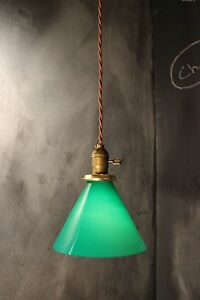 Vintage Industrial Pendant Light With Green Glass Lamp Shade Gaming Billiards