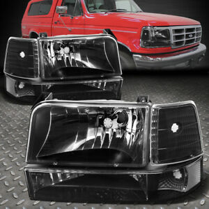 For 92 96 Ford F150 F250 F350 Black Housing Clear Corner Headlight Bumper Lamps