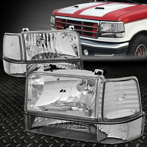 For 92 96 Ford F150 F250 F350 Chrome Housing Clear Corner Headlight Bumper Lamps