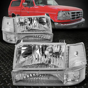 For 1992 1996 Ford F150 F250 F350 Chrome Bumper Headlights Clear Corner Lamp