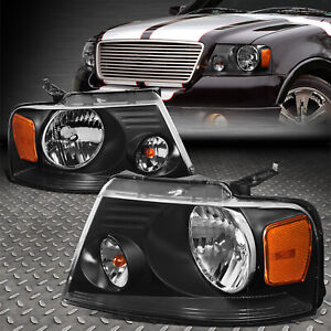 For 04 08 Ford F150 Lincoln Mark Lt Black Housing Amber Corner Headlight Lamps