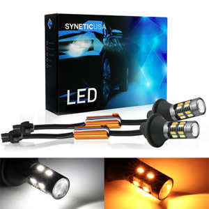 7443 Canbus Led Switchback White Amber Turn Signal Parking Drl Light Bulbs Kit
