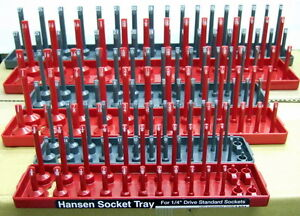 Hansen 1 4 3 8 1 2 Sae Metric Socket Organizer Holder Tray 6pc Hsn 92000
