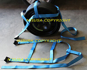 Demco Car Tire Basket Straps Adjustable Tow Dolly Wheel Net Set Flat Hook Bluex2