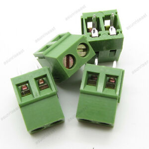 20 Pcb Screw Terminal Block 2 Pole 5mm Pin Pitch For 22 12awg Wire 300v 10a