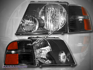 2002 2005 Ford Explorer Headlights Black Corner Lights 4 Pieces Set 2003 2004