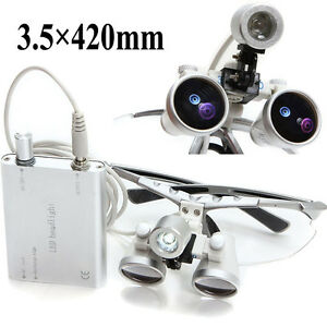 Silver Dental Surgical Medical Binocular Loupes 3 5x 420mm With Head Light Lamp