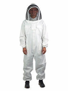 New Professional Cotton Full Body Beekeeping Bee Keeping Suit With Veil Hood