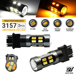 Syneticusa 3157 Led Drl Switchback Turn Signal Parking Light Bulbs White Amber