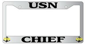 Chrome Metal License Plate Frame Usn Chief Anchors Auto Accessory
