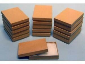 100 Pack Cotton Filled Kraft Color Jewelry Gift Boxes 5 25 X 3 75 X 1 Inch Size