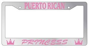 Chrome Metal License Plate Frame Puerto Rican Princess Auto Accessory