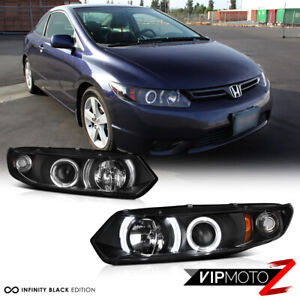 For 06 11 Honda Civic 2d Coupe Fg Black Led Halo Angel Eye Projector Headlight