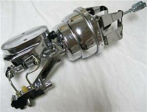 Chevy 8 Dual Disc drum Power Booster Milled Master Cylinder Brackets Chrome