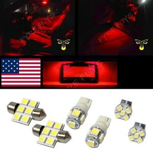 6 Red Led Interior Lights Package T10 31mm Map Dome License Plate Lamp G1r