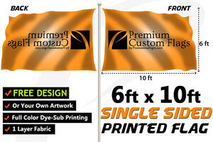 6 x10 Full Color Single Sided Custom Flag With Grommets