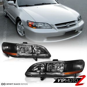 1998 2002 Honda Accord 6th Gen Cg1 Cg5 Cg2 Cg3 Black Amber Headlights Lamps Pair