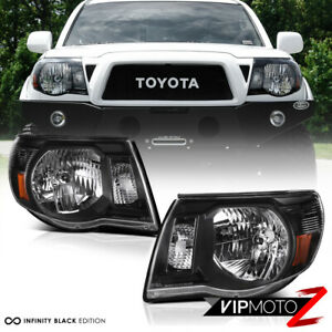 For 05 11 Toyota Tacoma Trd Style Black Front Headlights Head Lamp Pre Runner