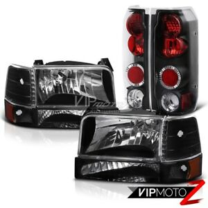 Black Headlight Corner Signal Tail Lights Lamps 92 96 Ford F150 F250 F350 Bronco