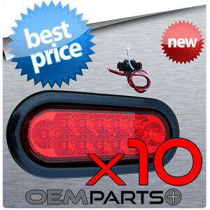 10pc New 6 Red Oval Sealed Turn Signal Stop Led Tail Light Truck Trailer Kit
