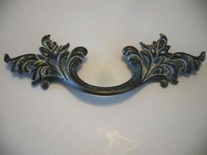 Large Old Leafy Brass Waterfall Dresser Drawer Pulls Art Deco Henry Link Style