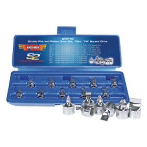 Vim Tools Sfp10 10 Piece 1 4 Square Drive Stubby Flat And Phillips Drive Set