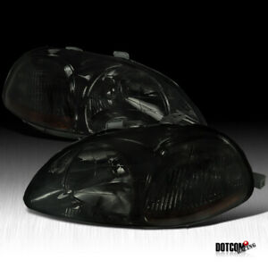 For 1996 1998 Honda Civic Jdm Replacement Smoke Headlights Lamps Set Left Right