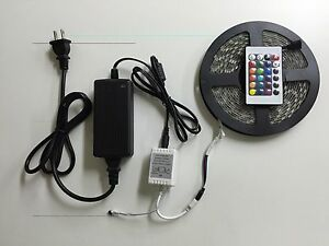 5m Smd 300 Rgb 5050 Waterproof Led Strip Light 24key Ir Remote 12v 5a Power Kit