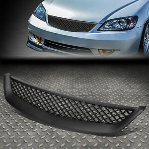 For 01 03 Honda Civic 2dr 4dr Em Es Black Abs Type R Style Grille Cover Guard