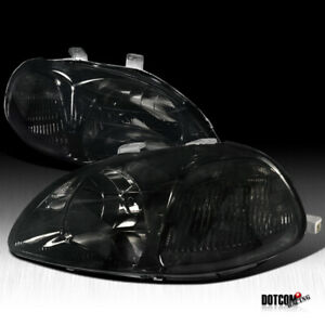 Fit 1996 1998 Honda Civic Eg Jdm Smoked Headlights Driving Head Lamps Left Right