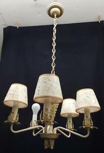 Vintage Mid Century Leafy Tole Chandelier Shabby Cottage Chic Old 3378 14