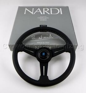Nardi Steering Wheel Classic 330mm Black Leather Black Spokes Grey Stitching New