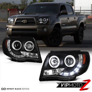 Twin Ccfl Angel Eye Halo Projector Pair Headlight For 2005 2011 Toyota Tacoma