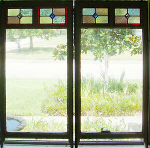 Large Tall Pair Of Antique Stained Glass Windows Fantastic Glass 1334