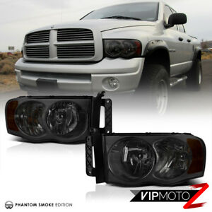 Titanium Smoke For 02 05 Dodge Ram 1500 Pickup Truck Pair Headlight Signal Lamp