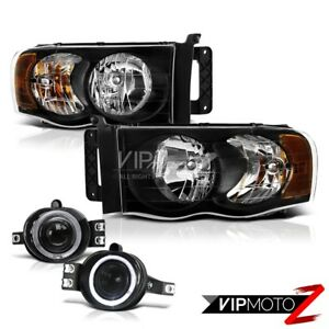 02 05 Dodge Ram 1500 2500 St Black Headlight halo Projector Fog Light wiring Kit