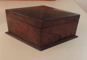 Antique 19th Century English Carved Mahogany Wood Box Diamond Shape