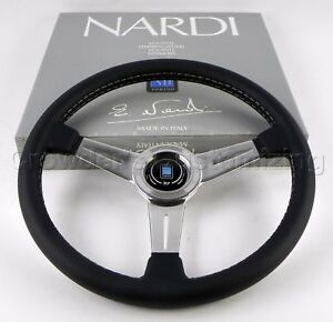 Nardi Classic Steering Wheel 360 Mm Black Leather Polished Spokes 6061 36 3001