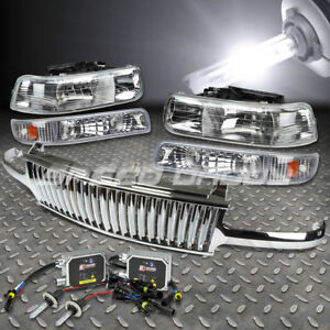 For Silverado tahoe Chrome Front Grill headlights Lamps 6000k Hid Bulbs ballast